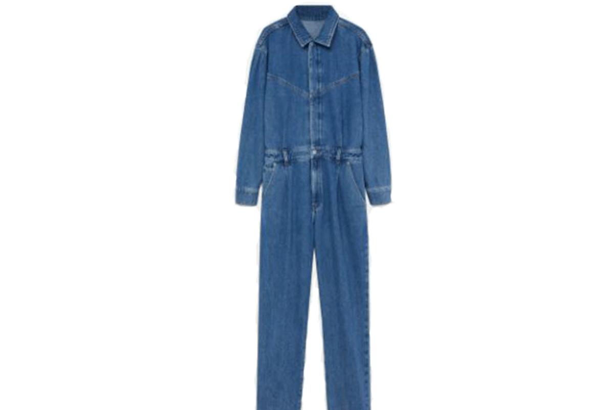mango cotton denim jumpsuit