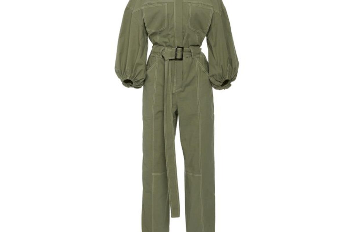 jonathan simkhai annika puff sleeve stretch cotton jumpsuit