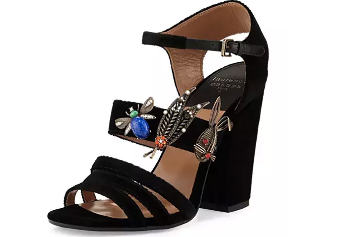 Malena Ornament-Embellished Velvet Sandal