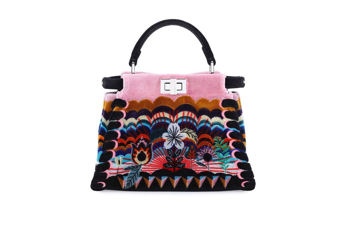 Peekaboo Mini Embroidered Velvet Bag