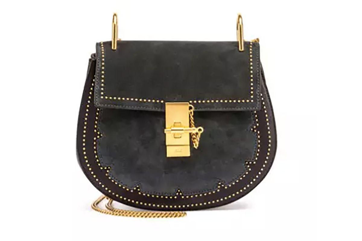 Drew Small Studded Suede Shoulder Bag