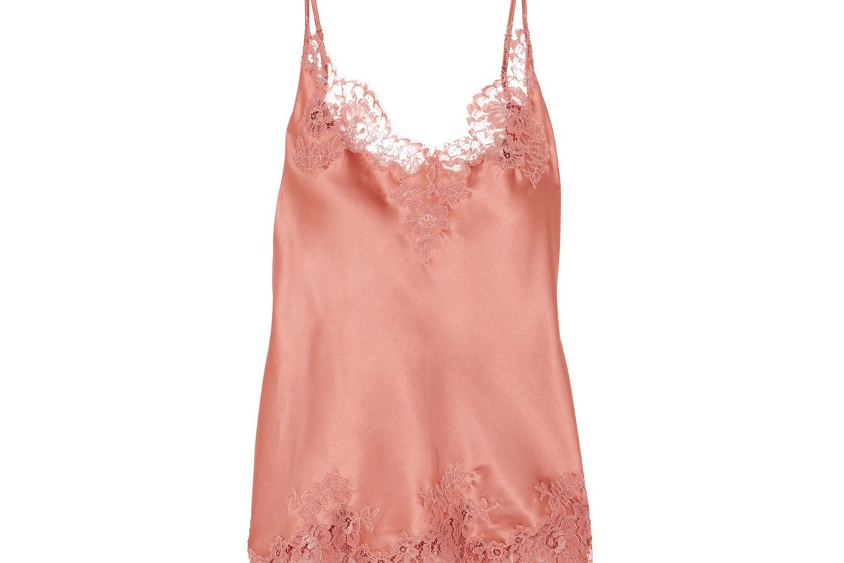 id sarrieri east of eden chantilly lace trimmed silk blend satin camisole