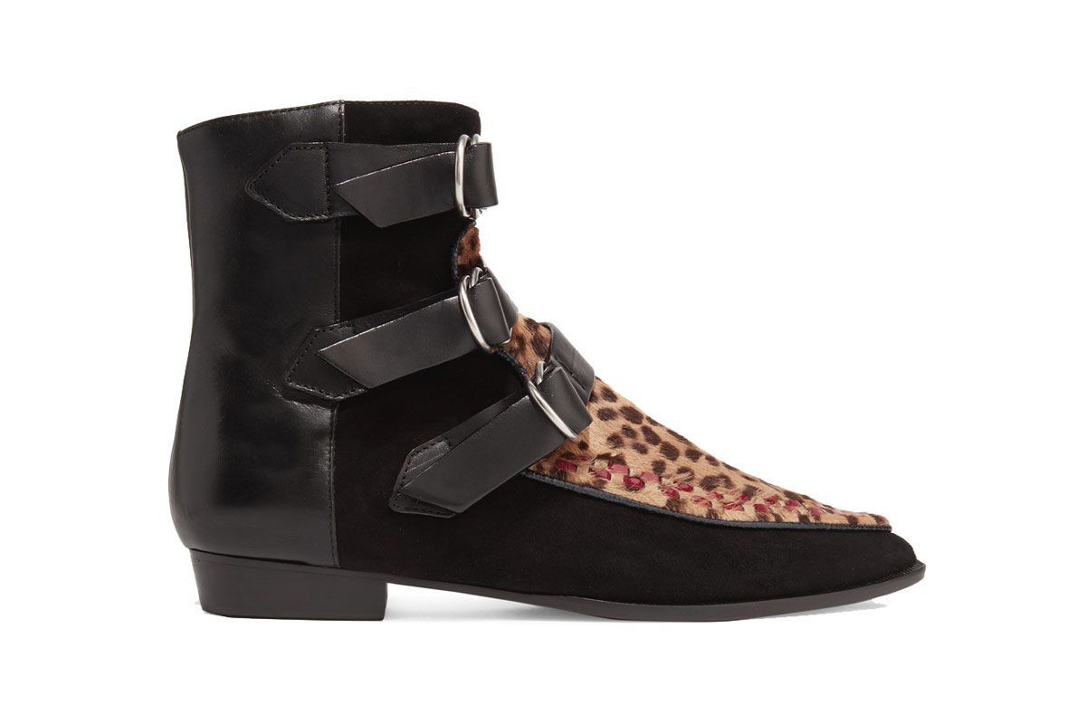 Rowi Leather, Suede and Leopard-Print Calf Hair Boots