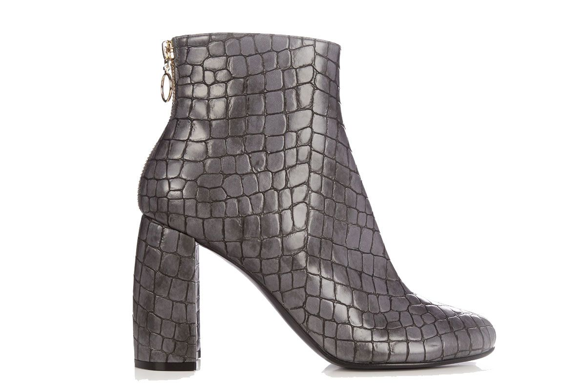 Block-Heel Faux-Leather Ankle Boots