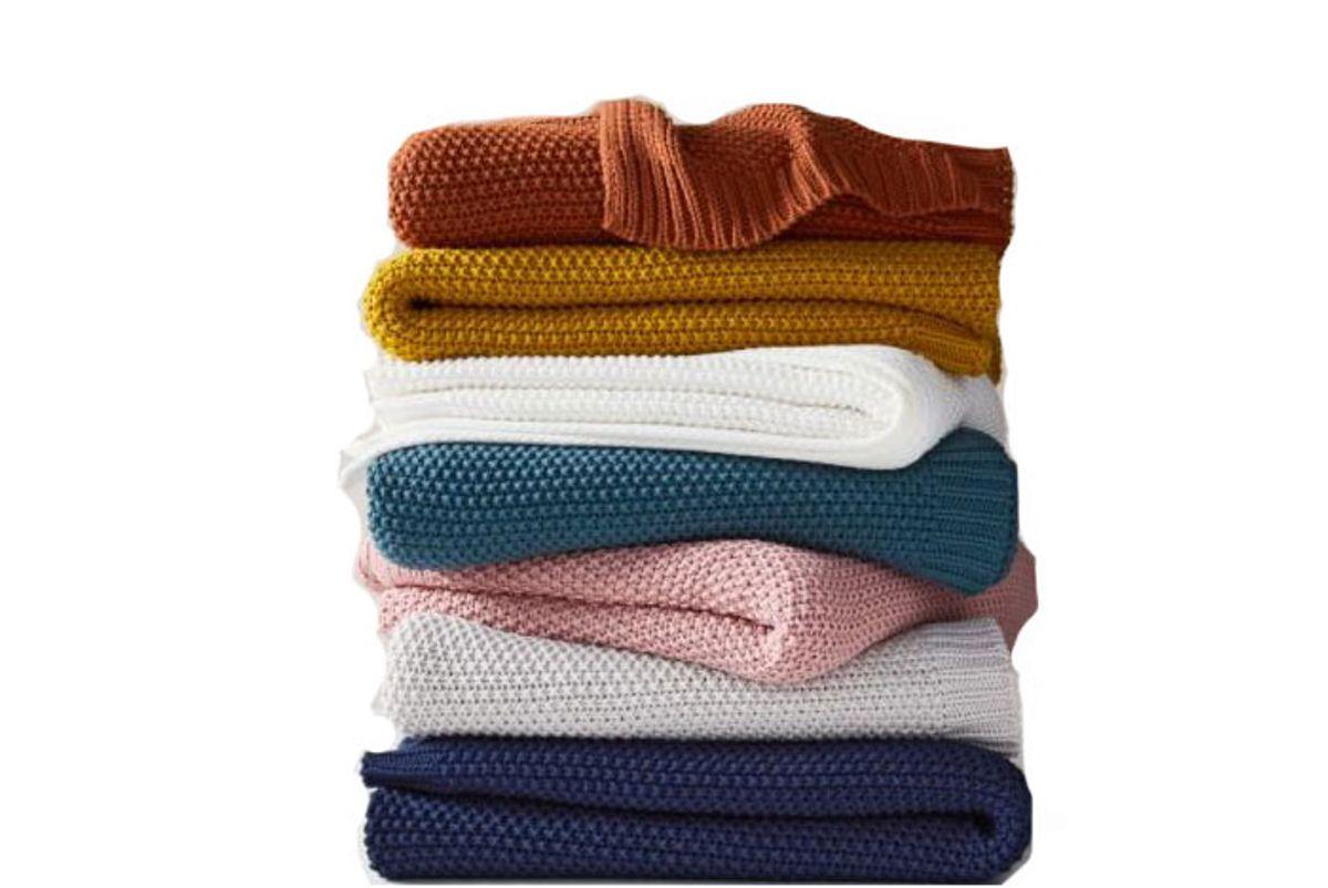 west elm cotton knit throw