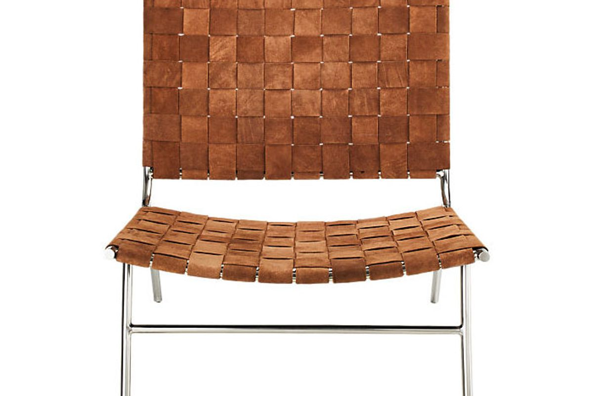 cb2 woven camel suede chair