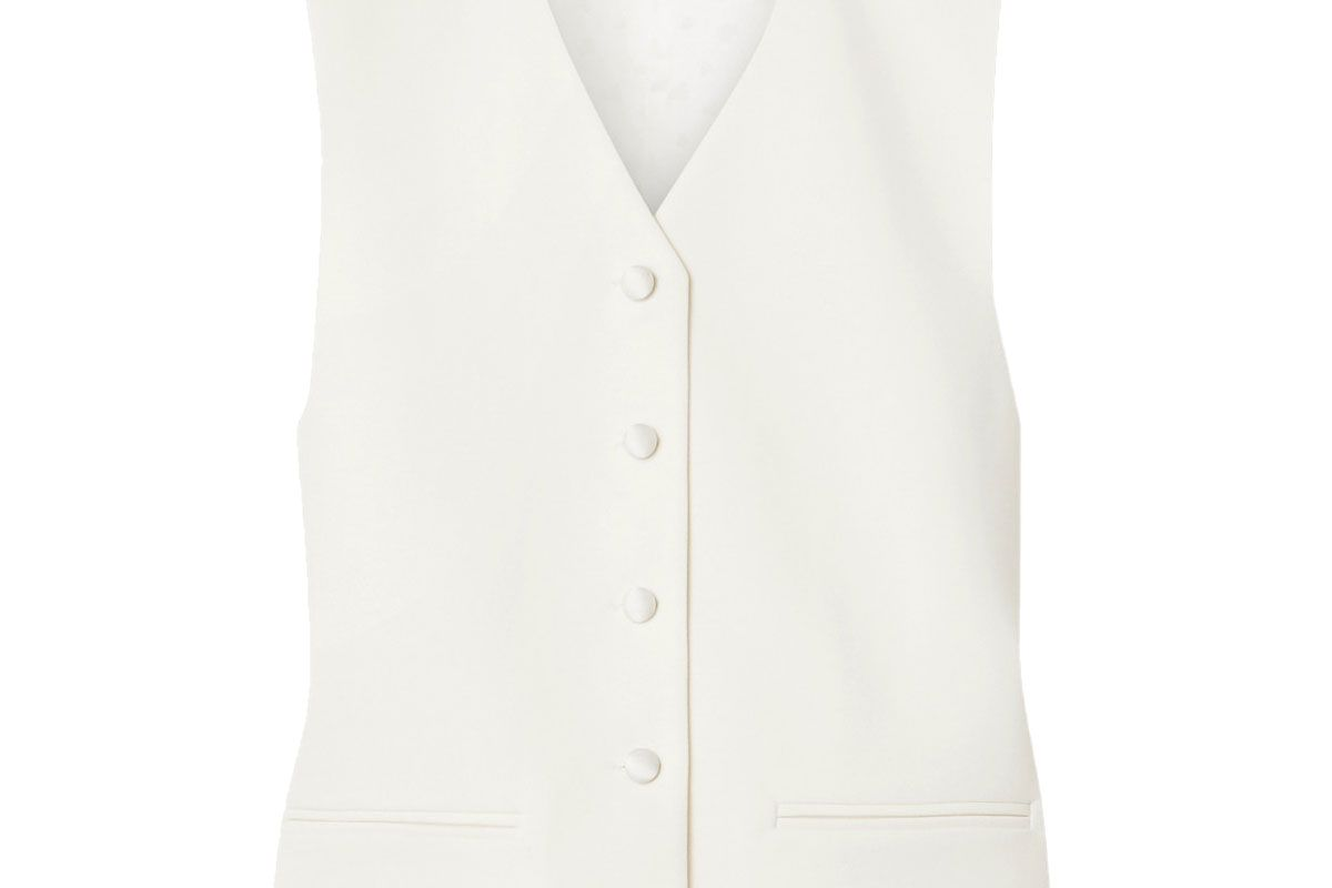magda butrym paneled wool twill and satin vest