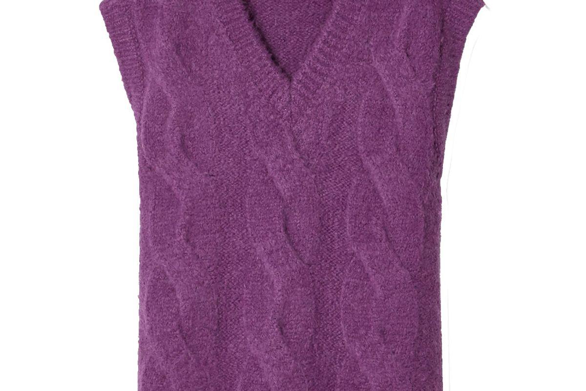 we11done oversized appliqued cable knit vest