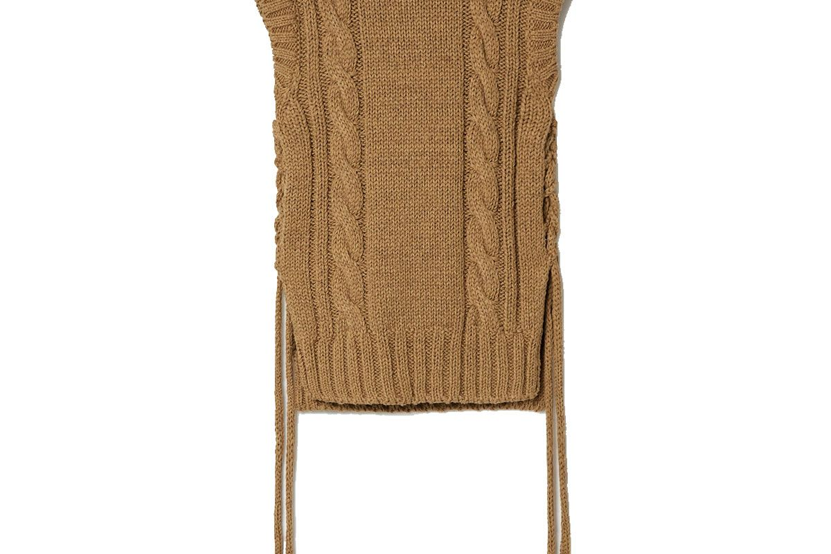 chloe lace up cable knit tank
