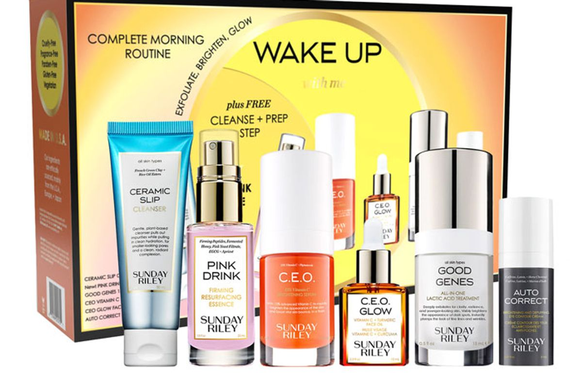 sunday riley wake up with me morning routine kit
