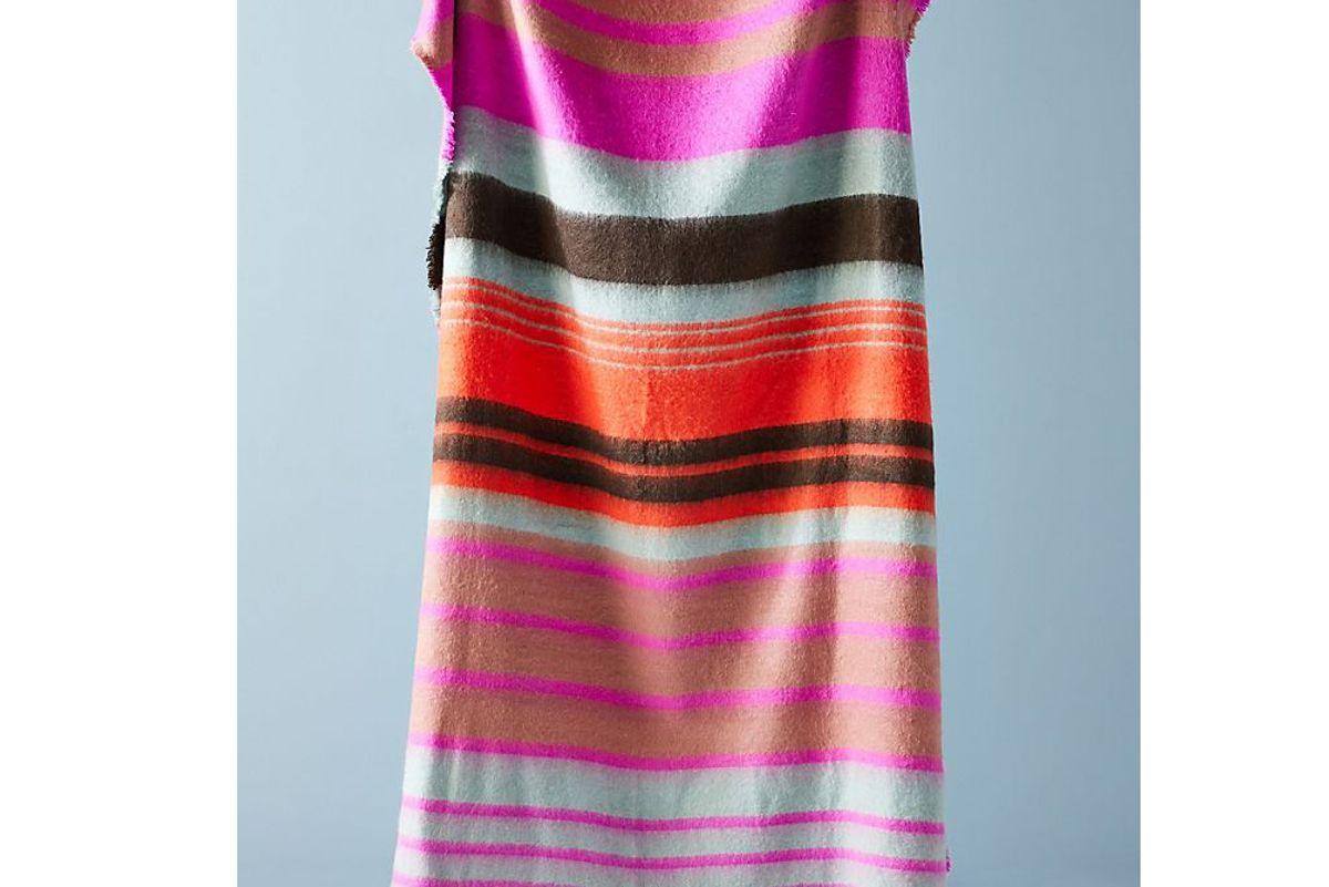 anthropologie bright stripe throw blanket