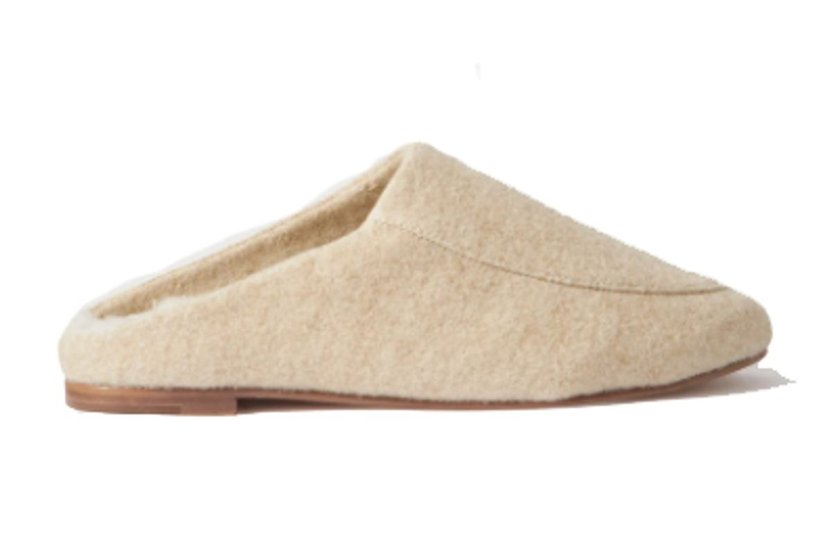 porte and paire shearling lined felt slippers