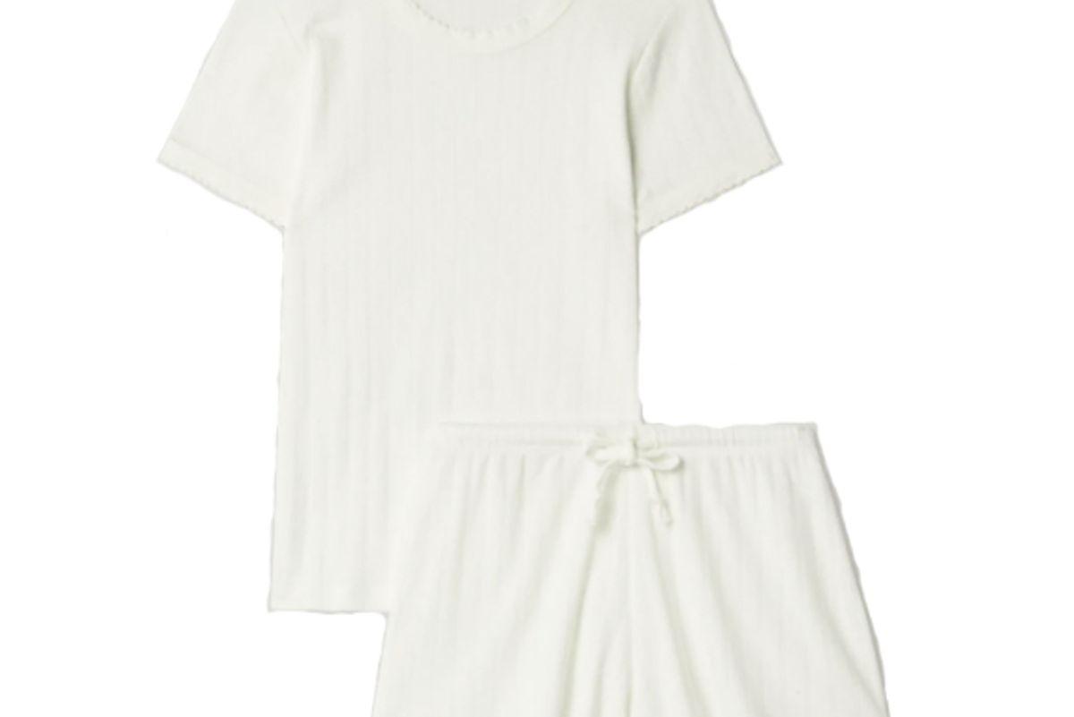 leset pointelle knit cotton jersey pajama set