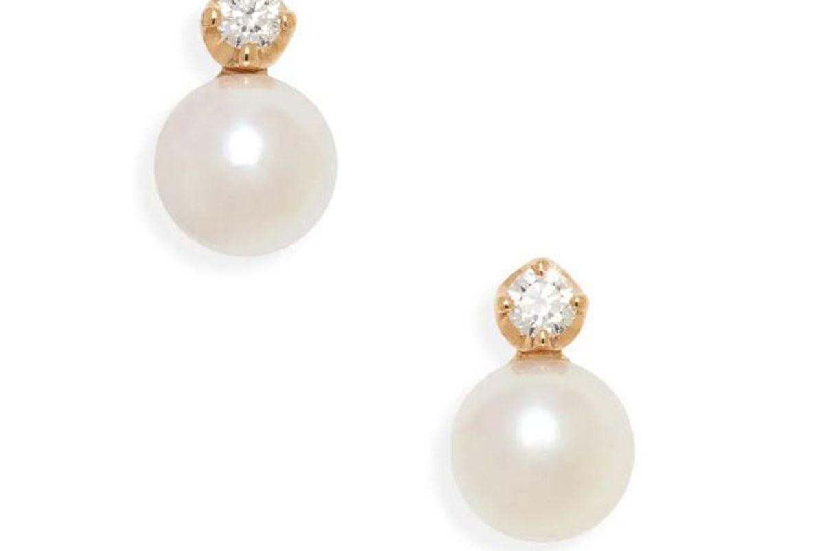 mikimoto akoya cultured pearl diamond stud earrings
