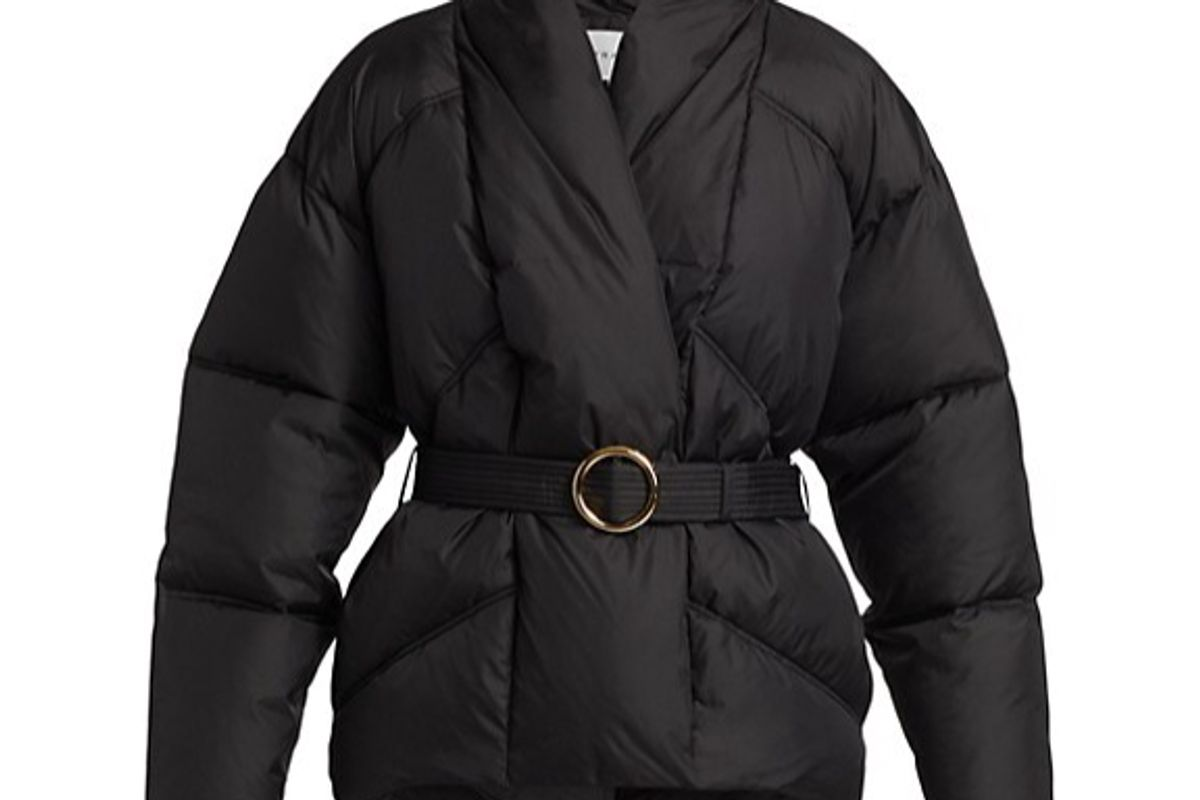 frame belted wrap puffer jacket