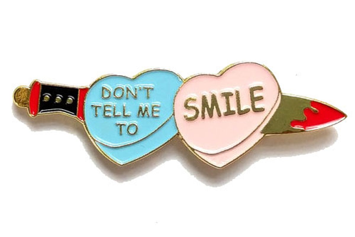 Don't Tell Me To Smile Heart & Dagger Enamel Pin