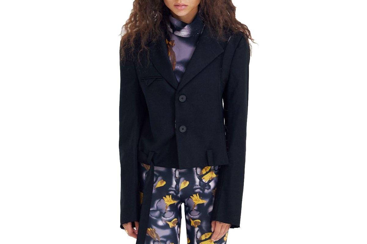 delada cropped blazer with belt black