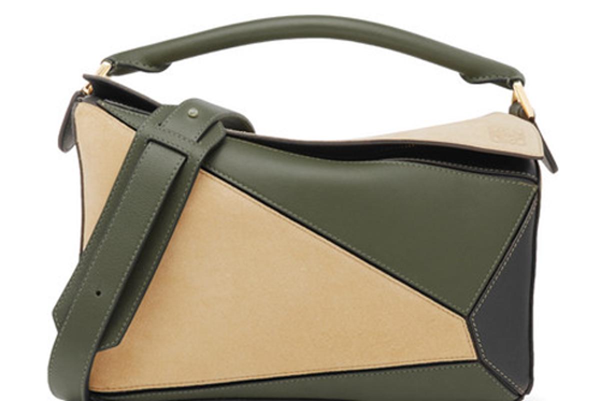 loewe puzzle color block suede leather shoulder bag
