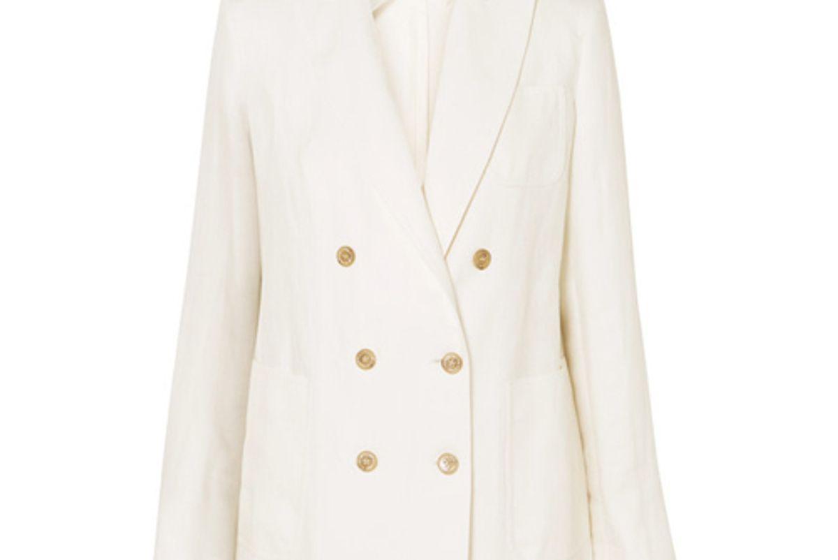 max mara double breasted linen blazer
