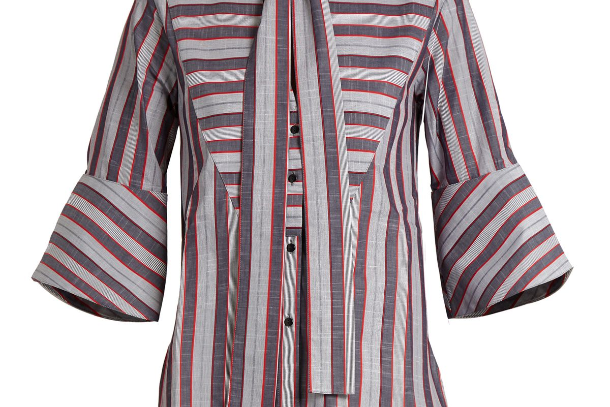 Striped Pussybow-Neck Cotton Shirt