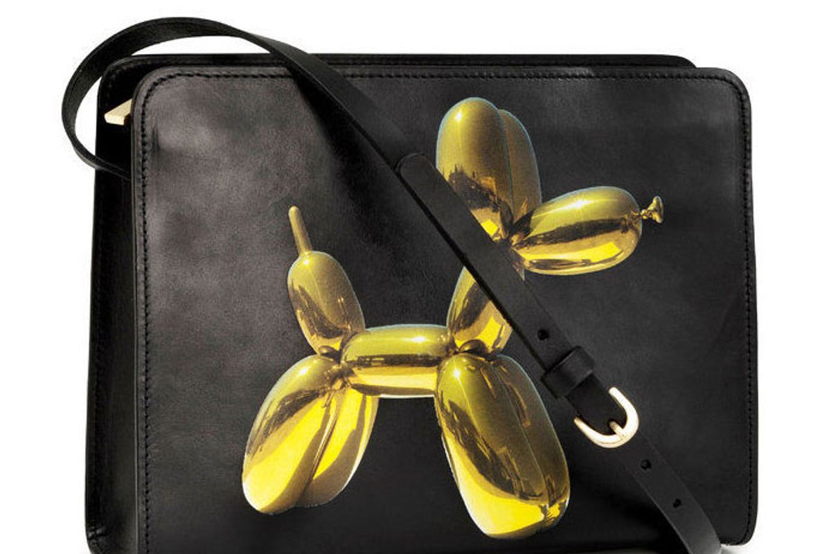 x Jeff Koons Black Yellow Leather Balloon Dog Print Shoulder Bag Purse