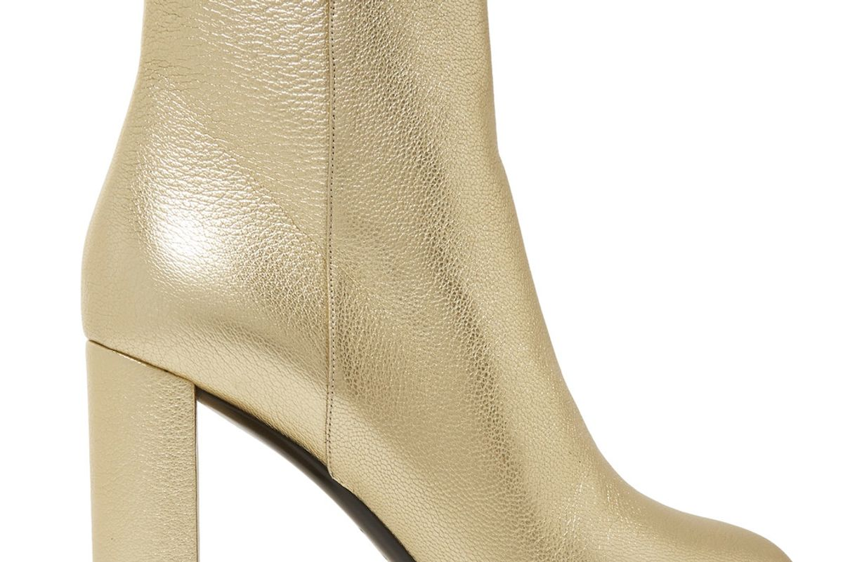 Lou Lou Metallic Textured-Leather Ankle Boots