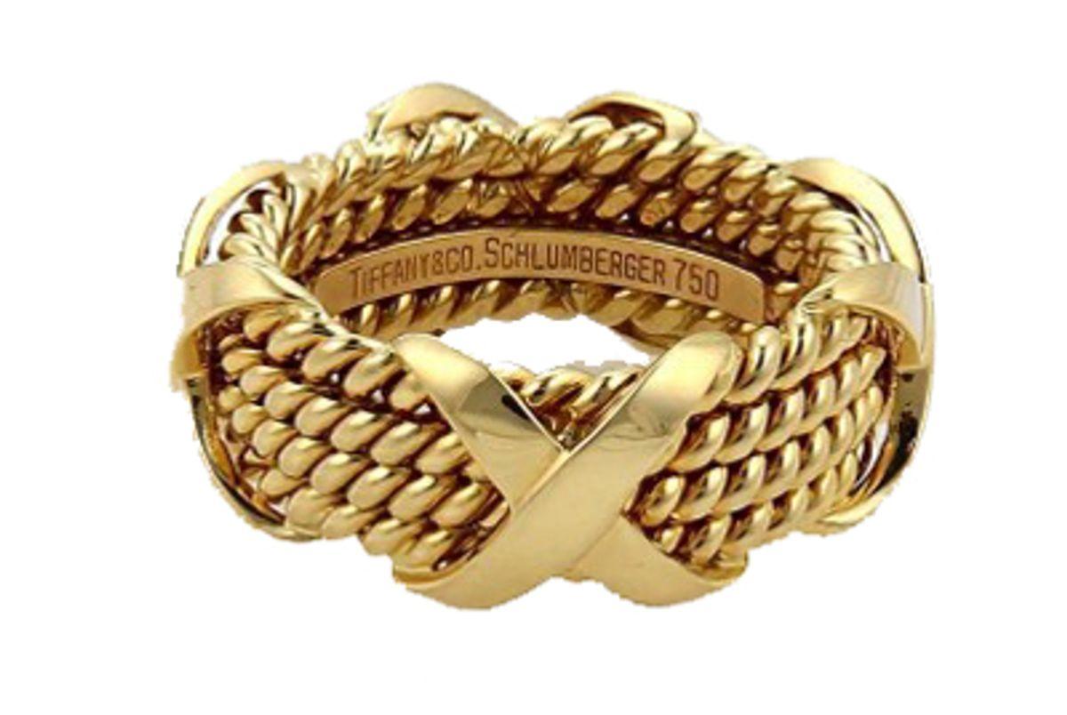 Schlumberger 18k Yellow Gold X Design 4 Rows Band Ring