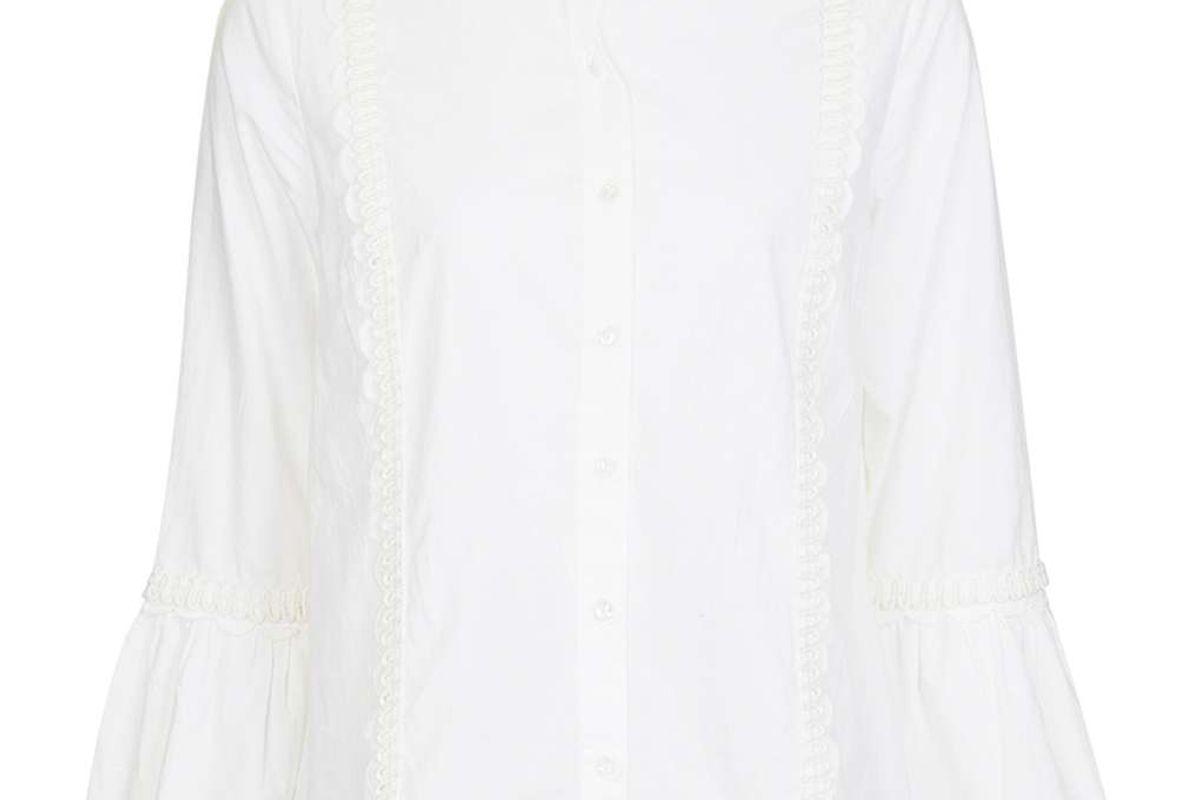 Poplin Ruffle Frill Shirt