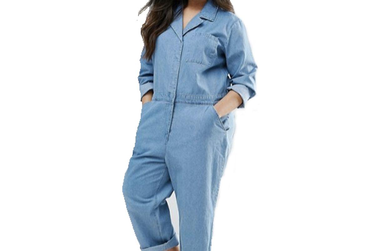 Curve Denim Boilersuit in Midwash Blue