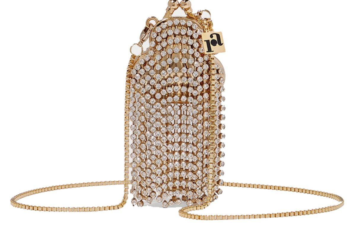 rosantica orfea mini fringed crystal embellished gold tone shoulder bag