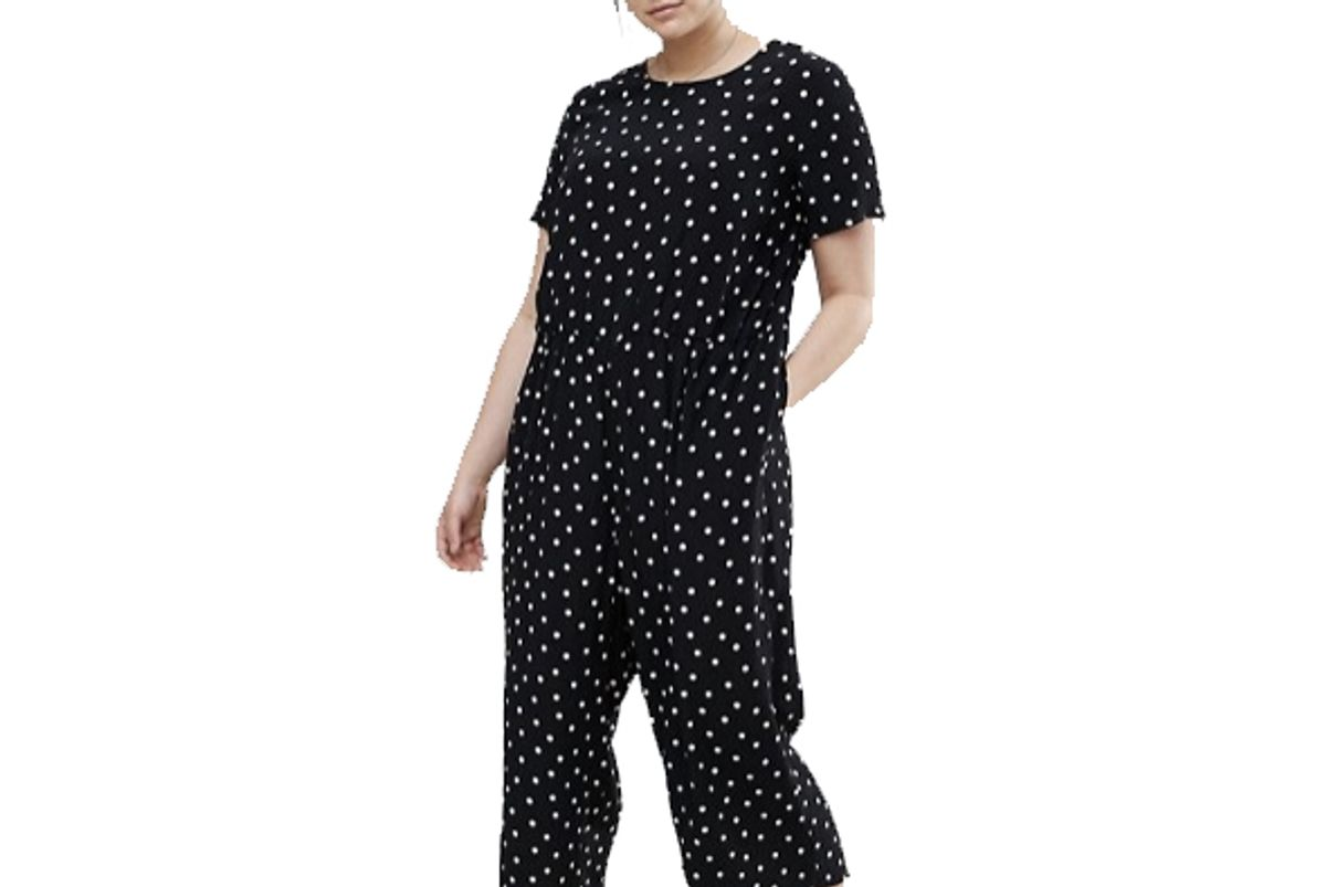 Curve Polka Dot Jumpsuit with Short Sleeve