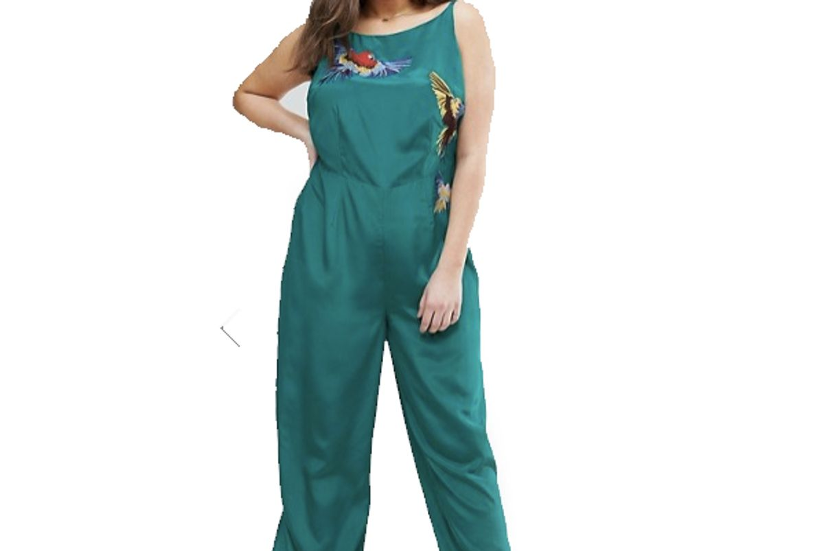 Curve Jumpsuit With Bird Embroidery Detail