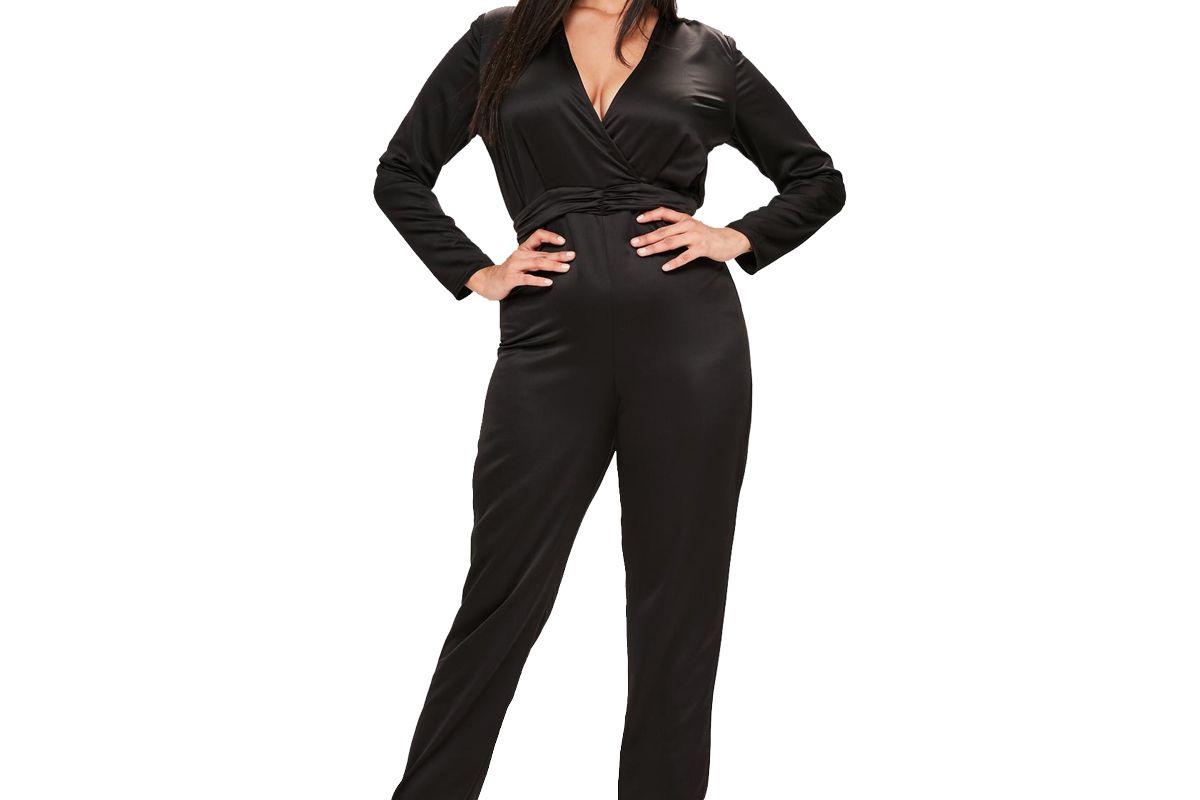 Plus Size Black Satin Knot Detail Jumpsuit