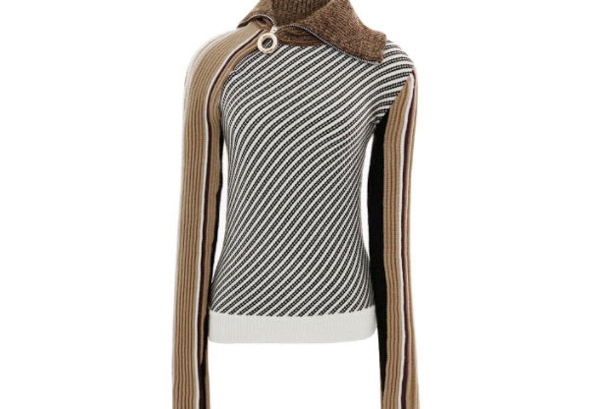 Zip Neck Striped Knit