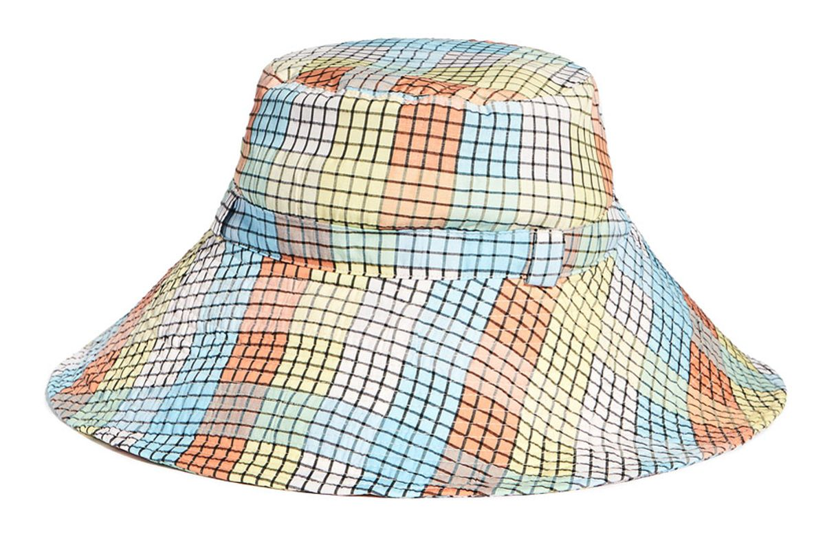 ganni multicolor seersucker check hat