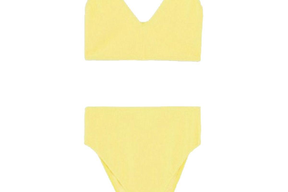 asos design curve crinkle bikini in yellow