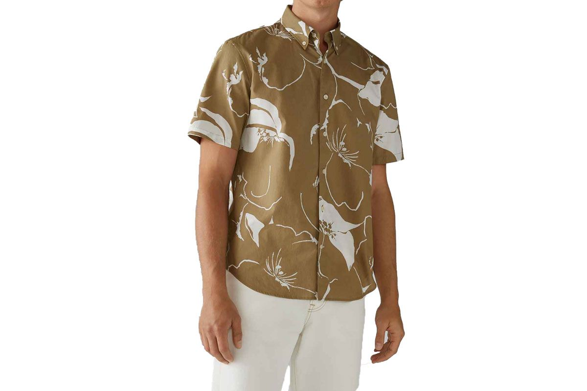 club monaco short sleeve floral wave shirt
