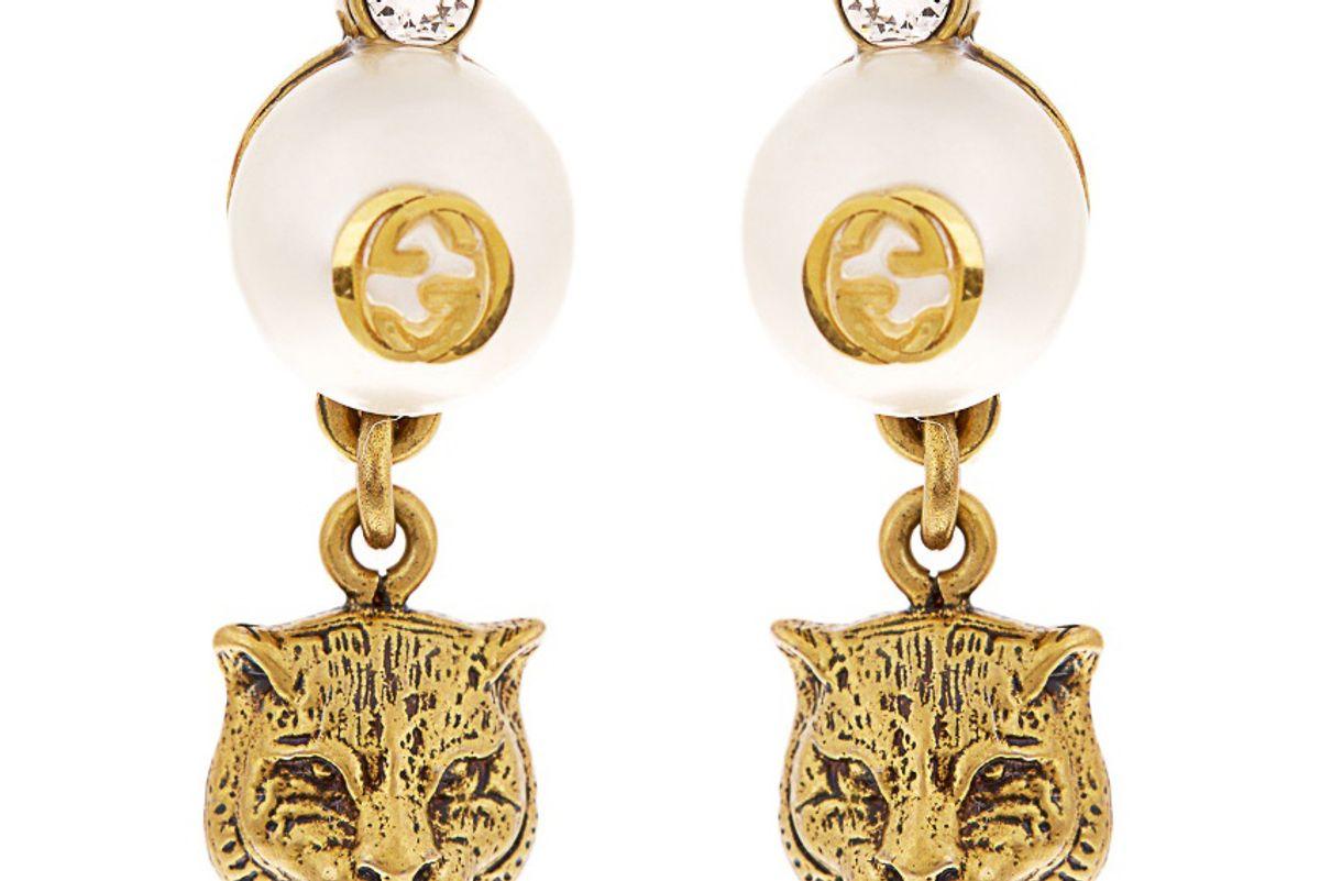 Faux-Pearl Embellished Feline-Drop Earrings