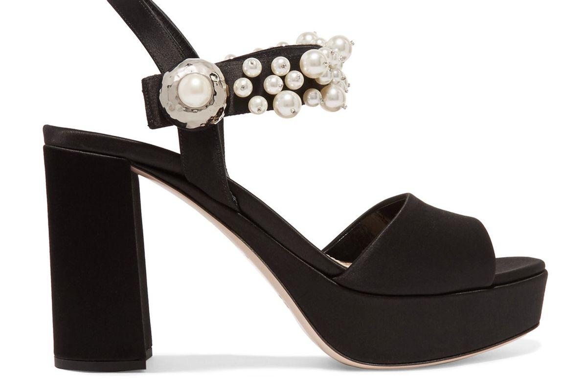 Faux Pearl-Embellished Satin Platform Sandals