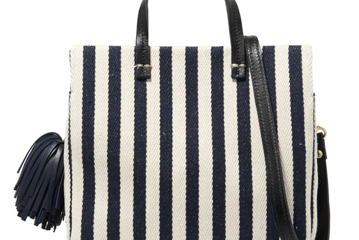 Petit Leather-Trimmed Striped Cotton-Canvas Tote