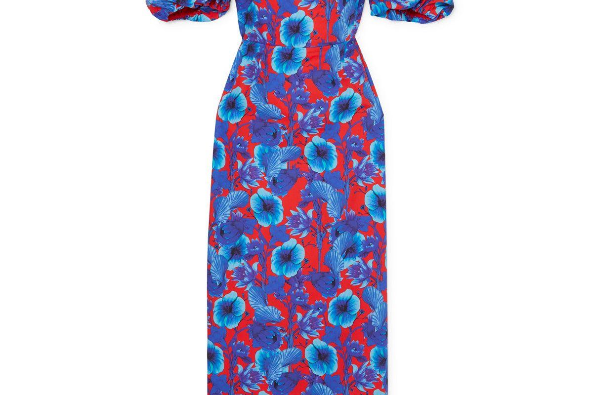borgo de nor adelita off the shoulder floral print cotton poplin dress