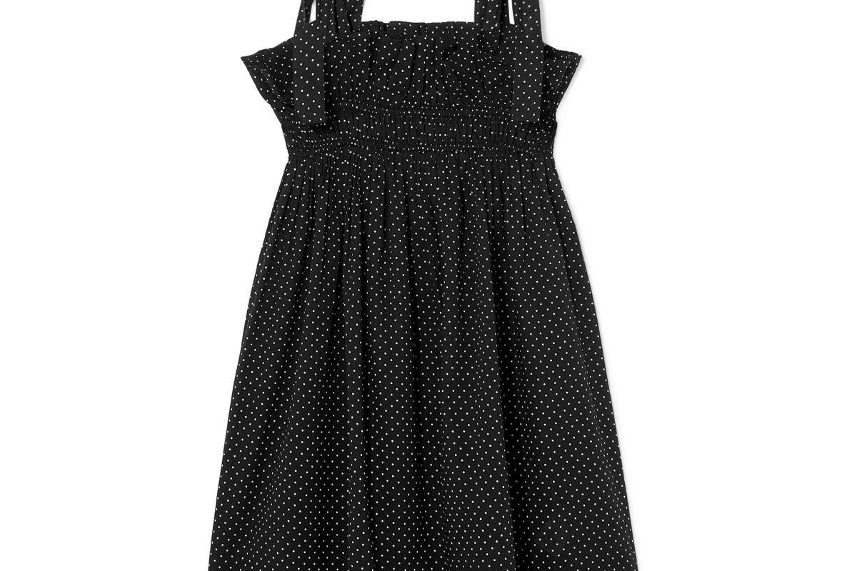 ganni polka dot cotton voile mini dress