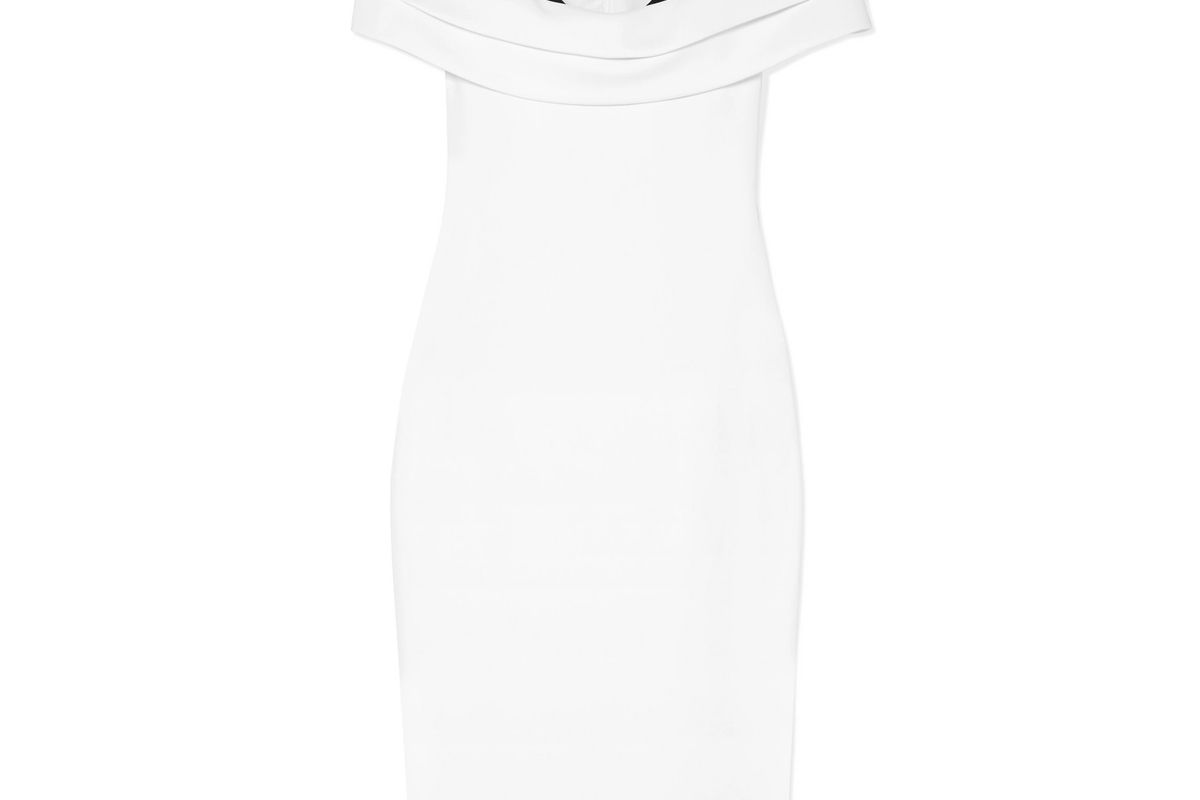 cushnie off the shoulder two tone layered cady and silk blend dress