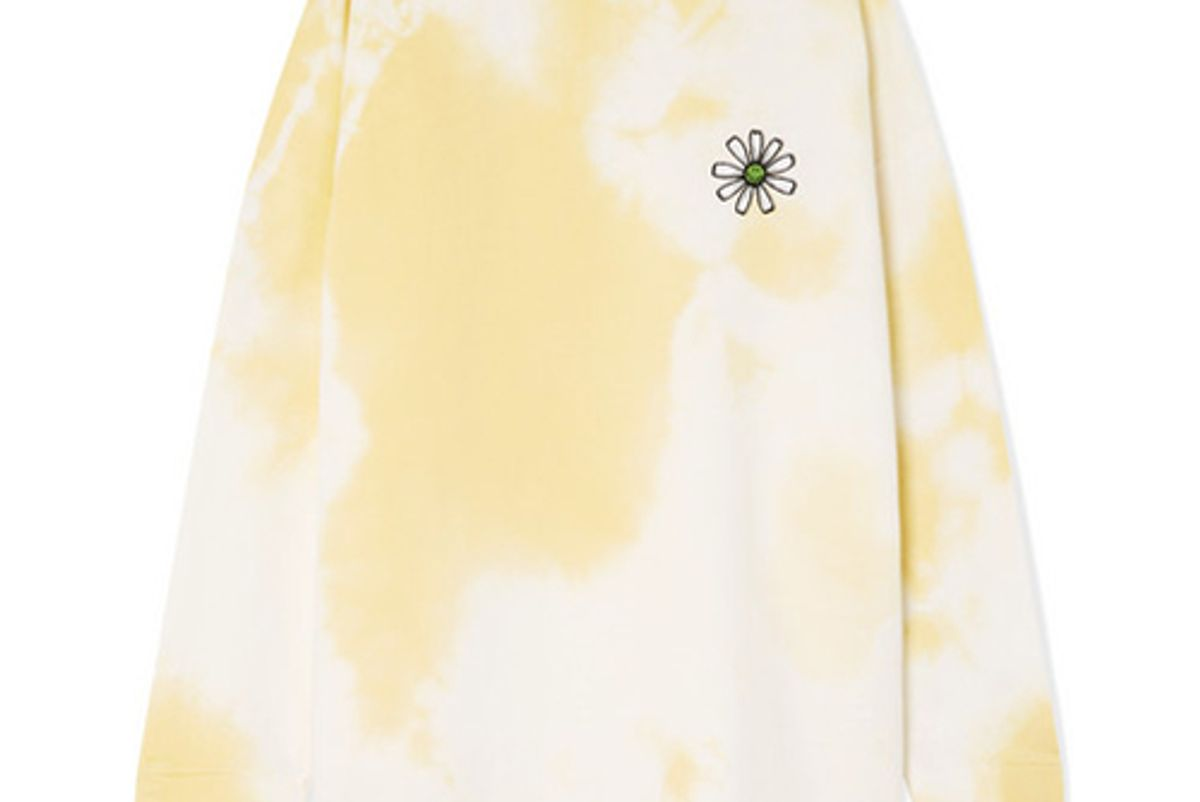 ganni appliqued tie dyed cotton jersey sweatshirt