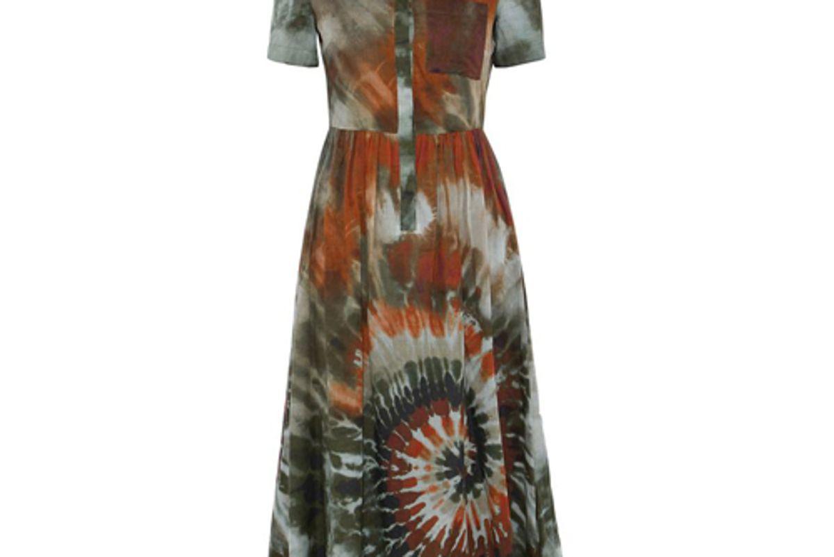valentino tie dyed-cotton voile midi shirt dress