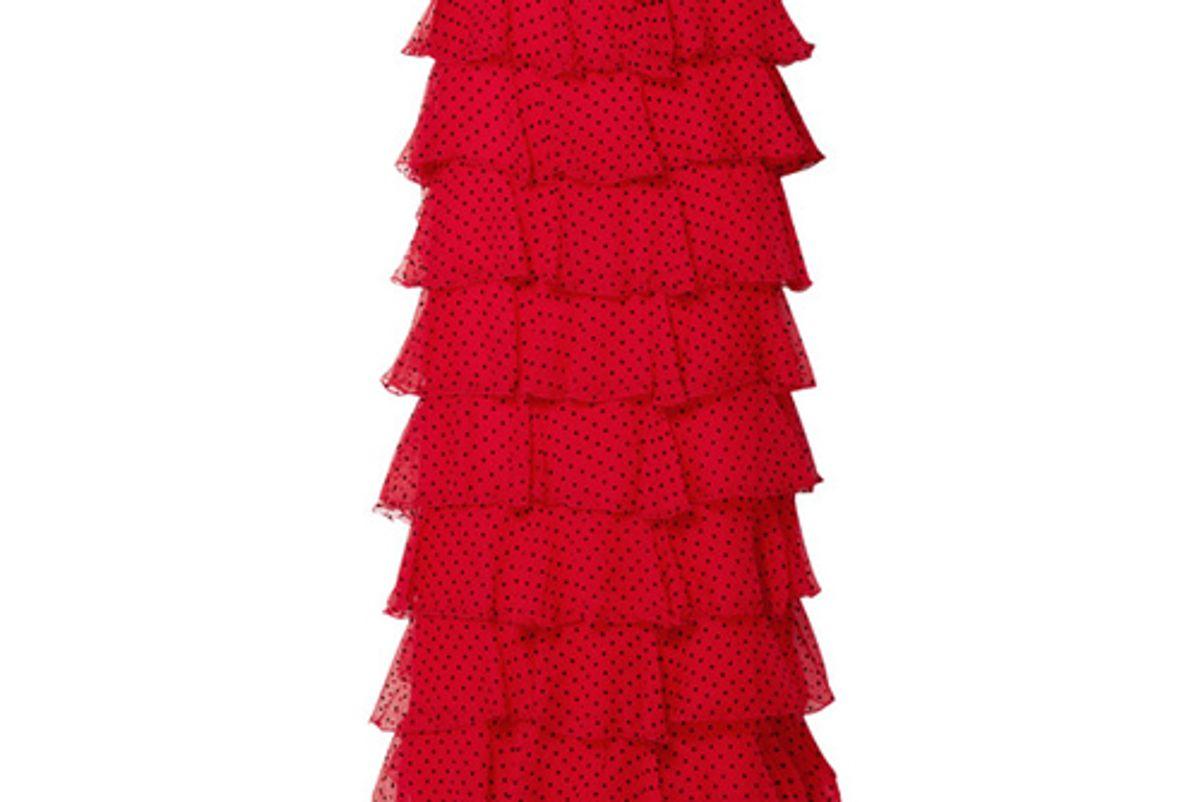 rodarte tiered polka dot flocked silk chiffon maxi skirt