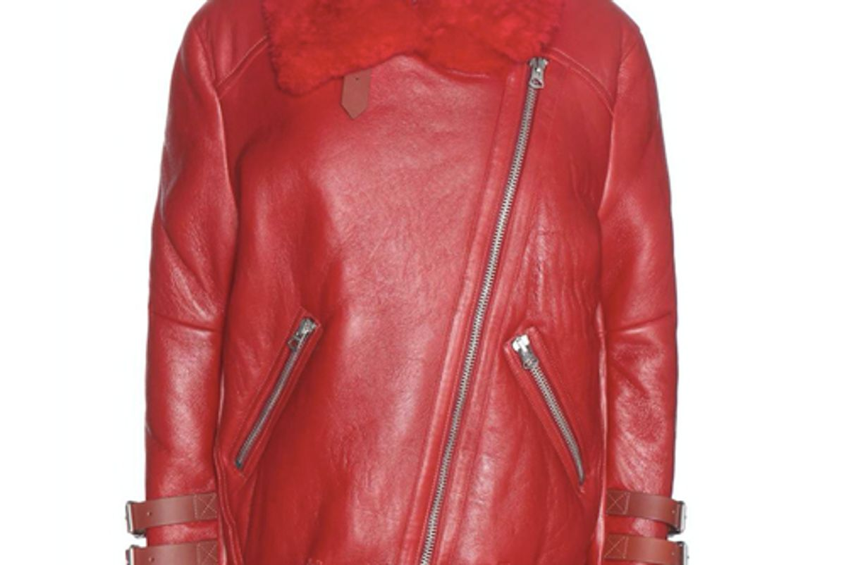 acne studios velocite shearling lined leather jacket
