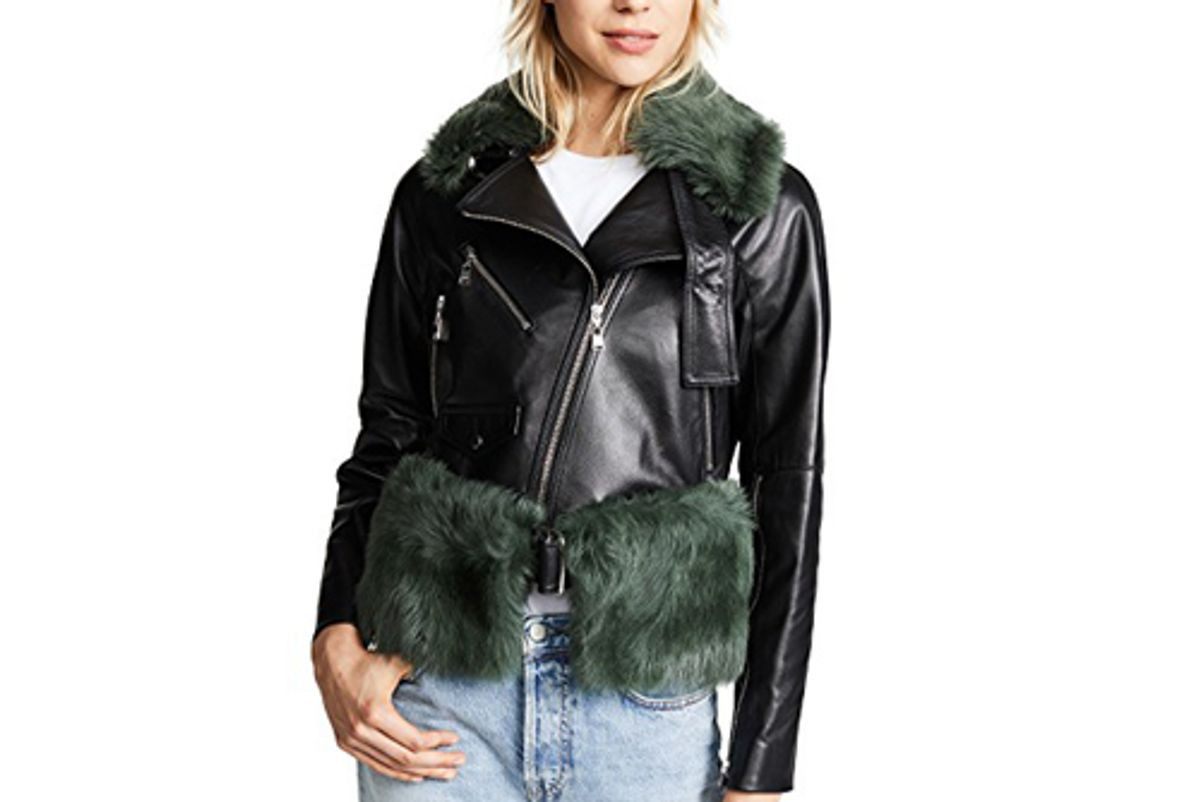 moto jacket removeable shearling collar