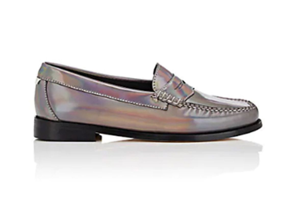 redone weejuns whitney holographic leather penny loafers