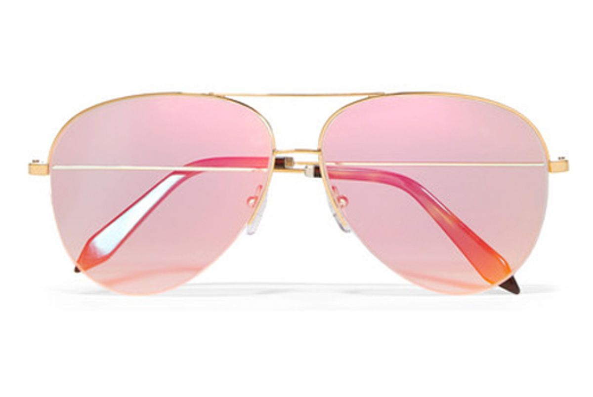 victoria beckham classic victoria aviator style gold tone holographic sunglasses